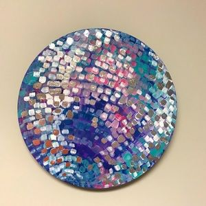 Disco ball!!  Hand painted round 10x10 wood panel